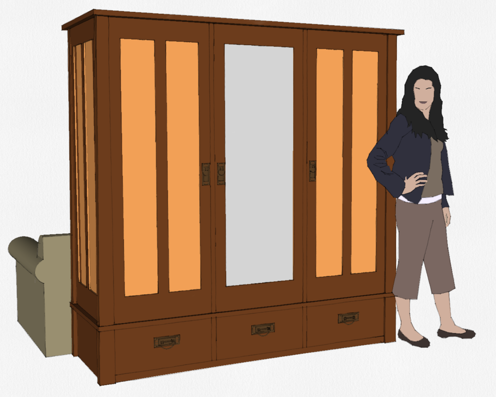 Addition of drawers and mirror ... this will be the final design for Annes piece.
