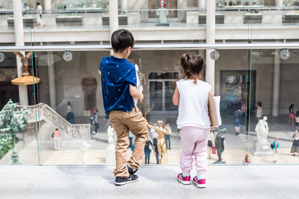 After our anniversary trip to NYC, we decided our kids needed to see the Met. Growing up, our parents dragged us around countless museums, and I believe it makes a difference! I researched artwork by time period and regions, and picked out 15 individual pieces for each kid to look for as we went around the museum. When they found the piece, we gave them a card with the image on it. Here are Nuelie and Ellie with their clipboards!