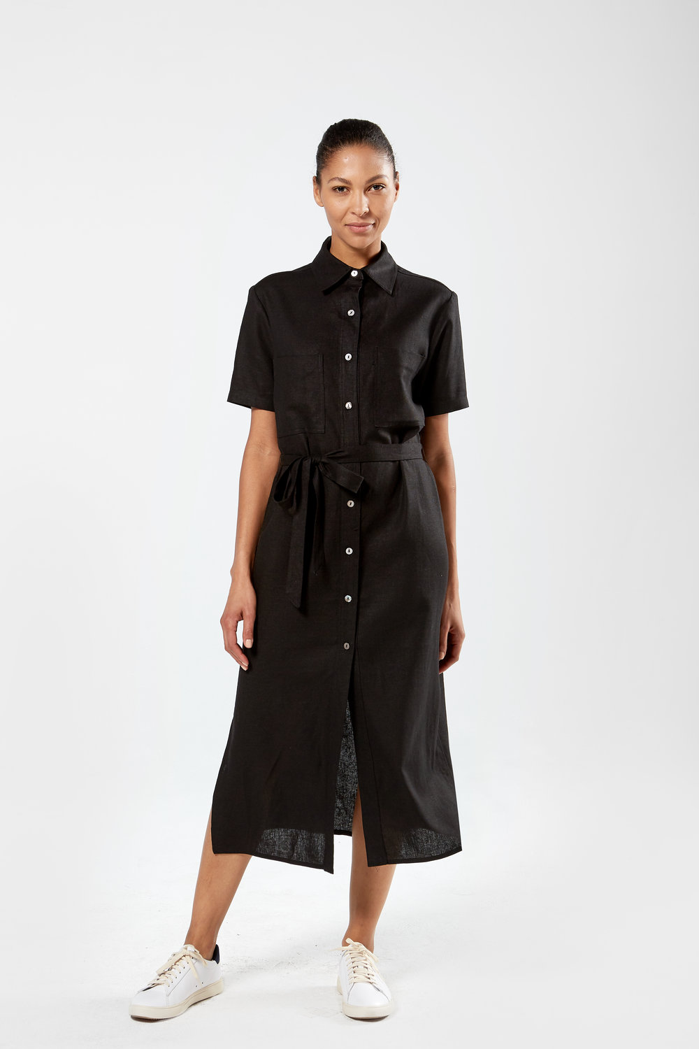Women's Shirt Dress, Self Fabric Belt