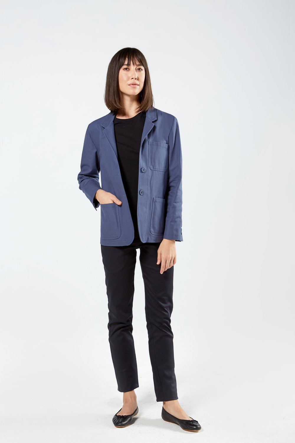 Women's Patch Pocket Blazer in Royal Blue
