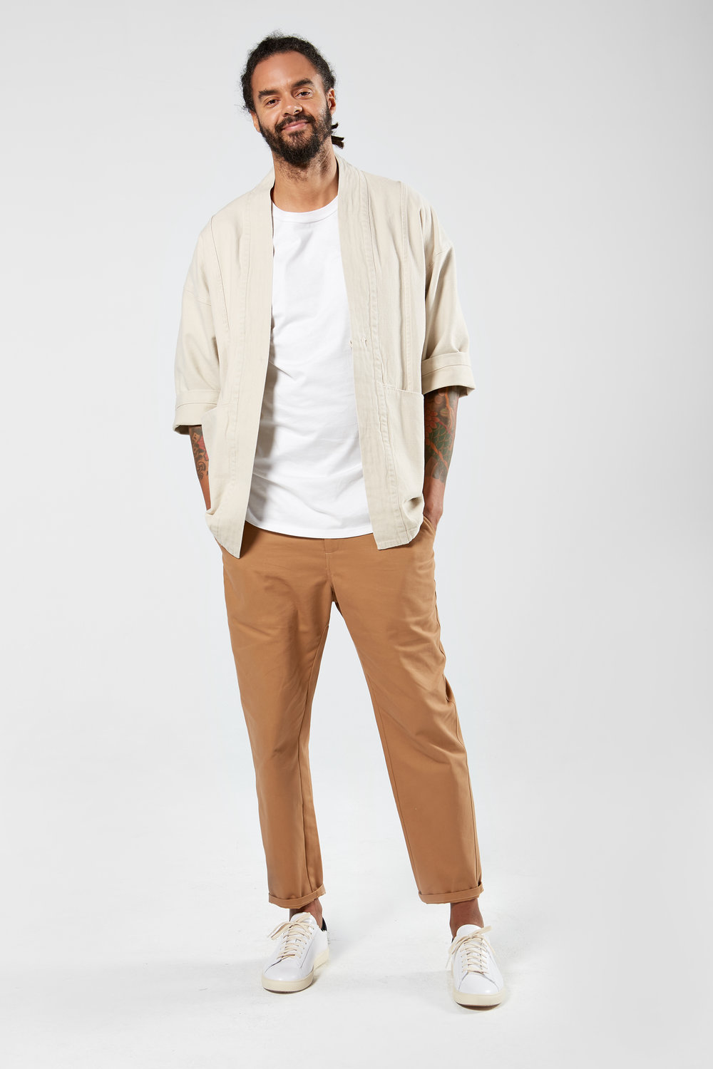 Unisex Drawstring Chinos in British Khaki