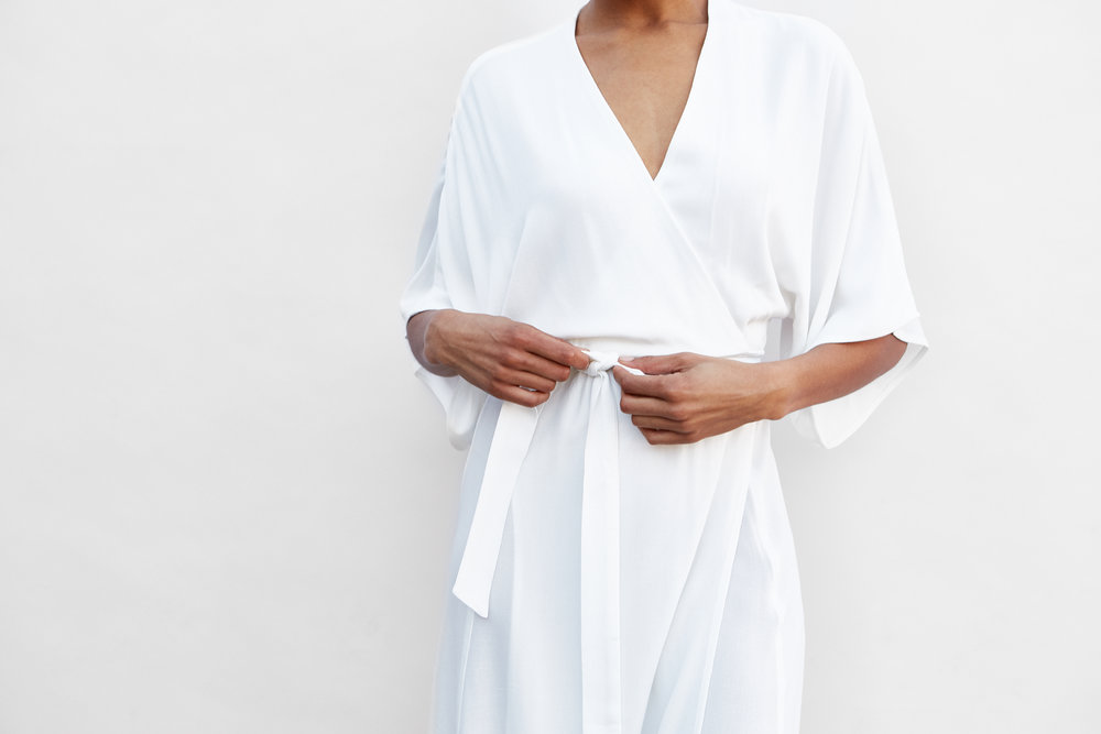Kimono Sleeve Wrap Dress in Warm White