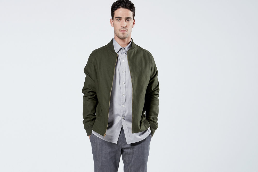 Unisex Bomber in Army Green