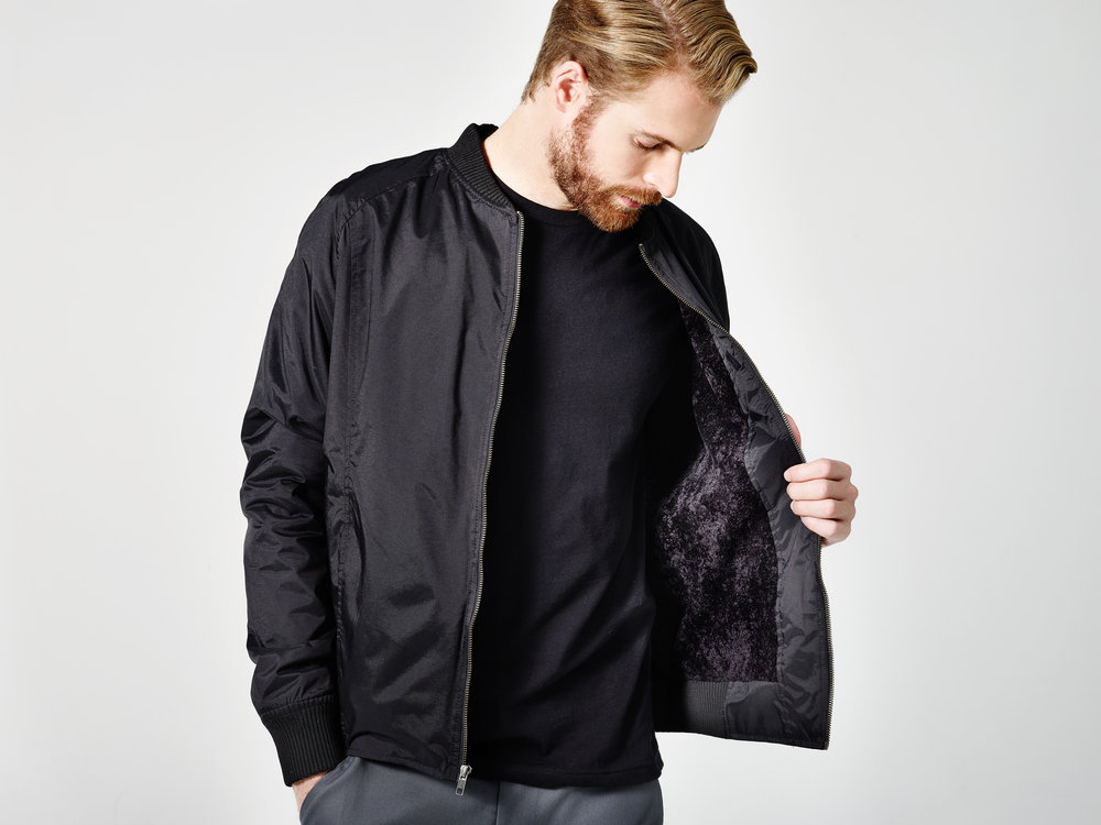 Unisex Bomber Jacket in Black Nylon with Sherpa Lining