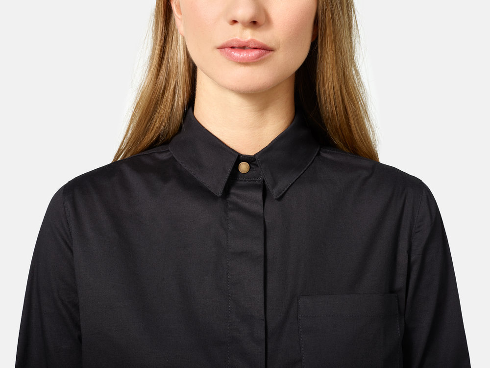 Women's Slim Long Sleeve Hidden Placket Shirt
