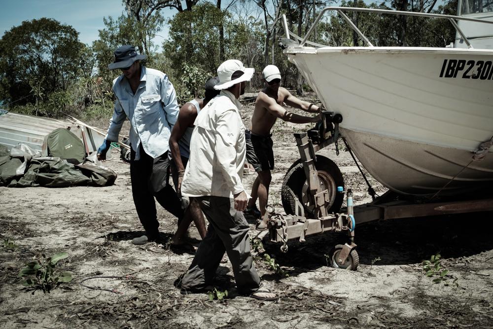 The Big Pig camera crew boat.