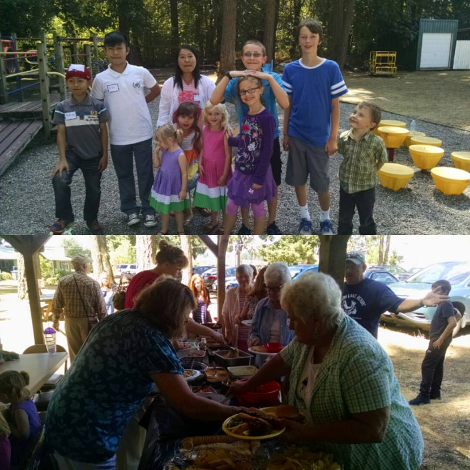 Top: Several of our kids who we managed to corral for a quick snap! Below: Folks in the food line.