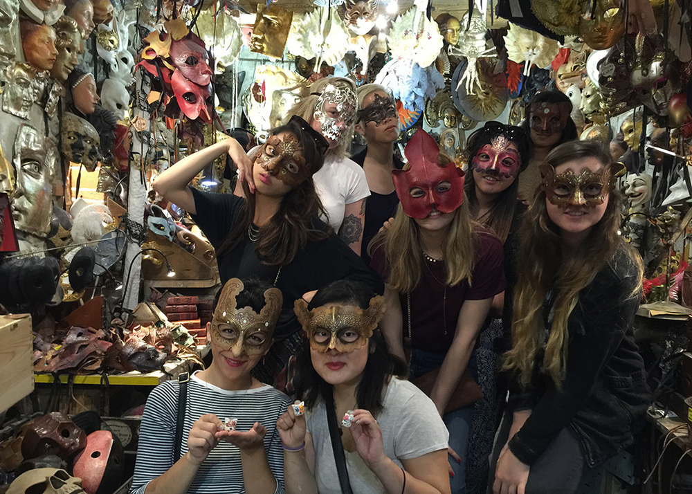 Next was Florence where in addition to lots of history and art, we had two days of mask making workshop. Here we were getting inspiration from the Masks of Agostino Dessi's shop.