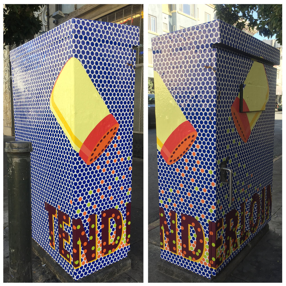 I'm happy to share that a project I've been working on is completed and we will be celebrating with an opening Thursday, October 12 from 5:30 - 9:00 at the Tenderloin Museum in San Francisco.  The project is called Art Wraps for the Heart of the Tenderloin. I have seven art wraps on utility boxes throughout the Tenderloin. We will be doing a walking tour of the area at 6:00 along with the six other artists selected. More information: http://www.tenderloinmuseum.org/public-programs/2017/10/12/art-wraps-for-the-heart-of-the-tenderloin
