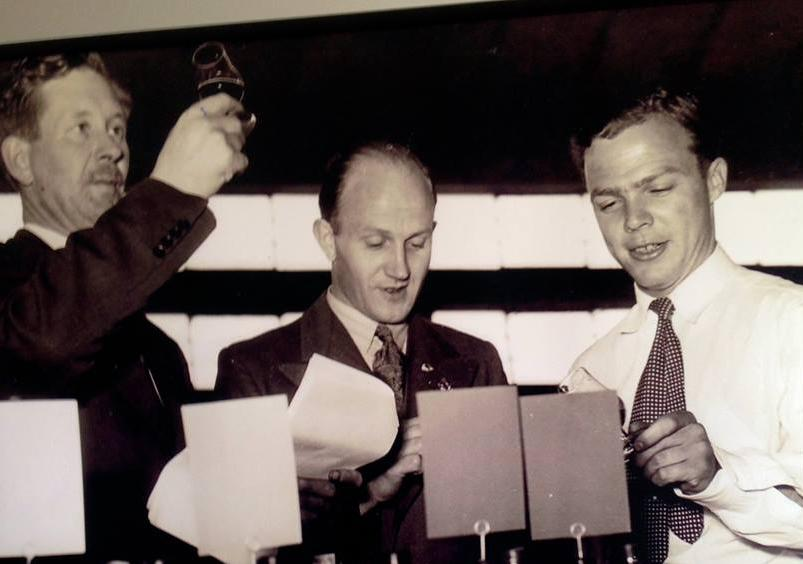 Bill Seppelt (Snr), Colin Gramp and Bryan Dolan (right) judging at the Royal Adelaide Wine Show, late 1950's.