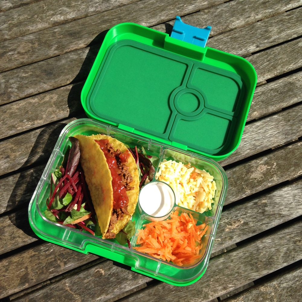 Pommel Green Yumbox Panino with Tacos