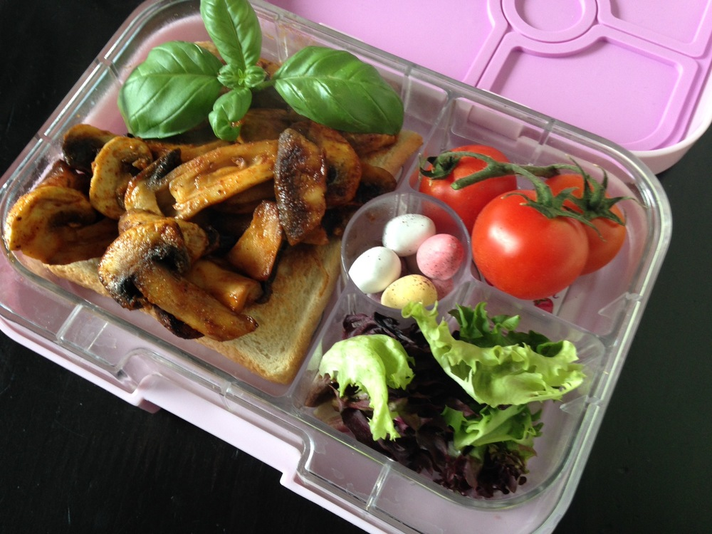 Pink Lemonade Yumbox Panino with open mushroom sandwich