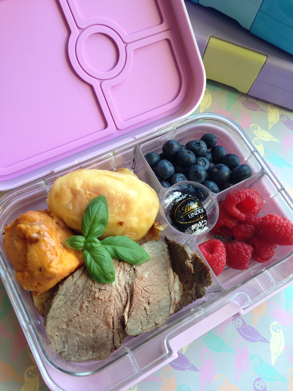 Pink Lemonade Yumbox Panino with Roast Leftovers