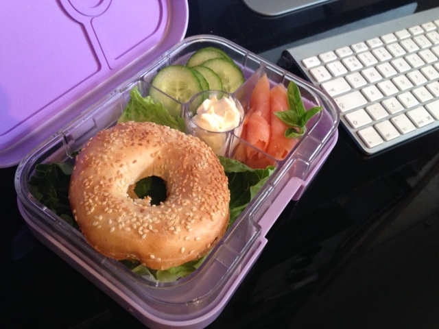 DIY bagel lunch in the Lavande Purple Yumbox Panino