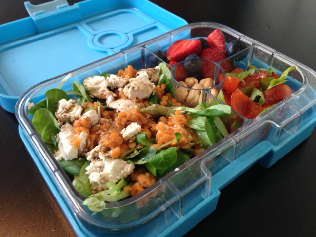 Gelato Blue Yumbox Panino with goats cheese and lentil salad