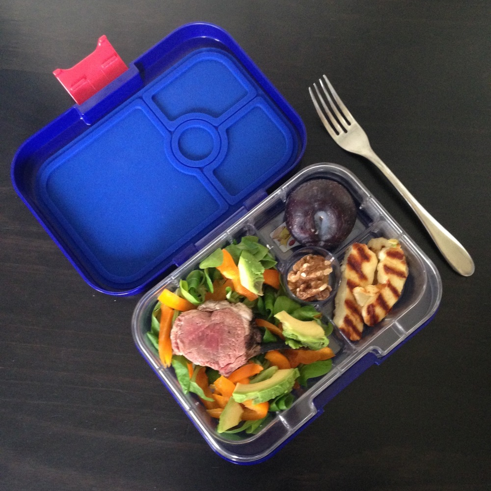 Yumbox Panino with BBQ leftovers
