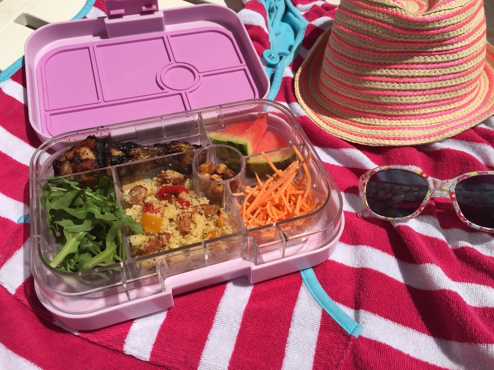 Chorizo Cous Cous in the Pink Lemonade Yumbox Classic