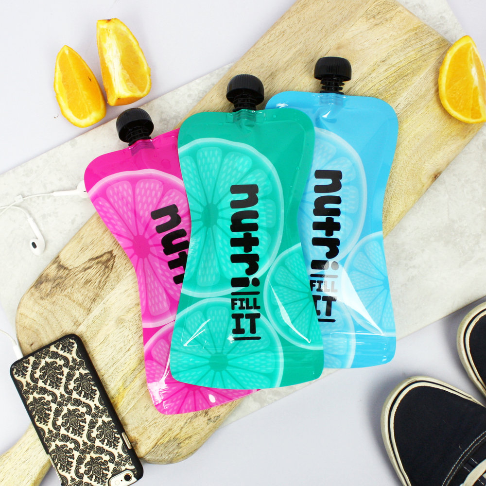 Nutri Fill-It 300ml Reusable Smoothie Pouches