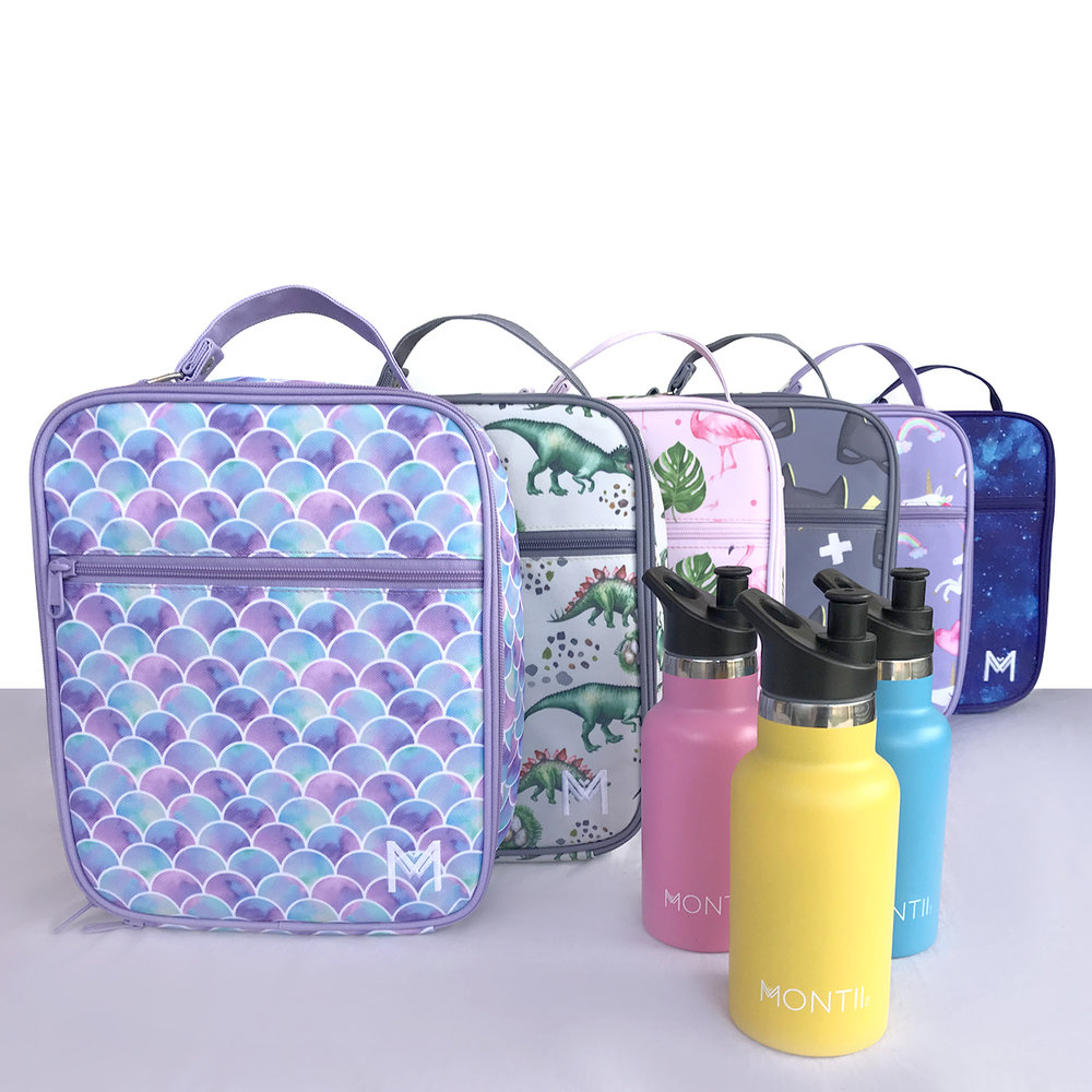 Montii Insulated Lunch Bags (with integrated ice pack) with Mini Montii Water Bottle