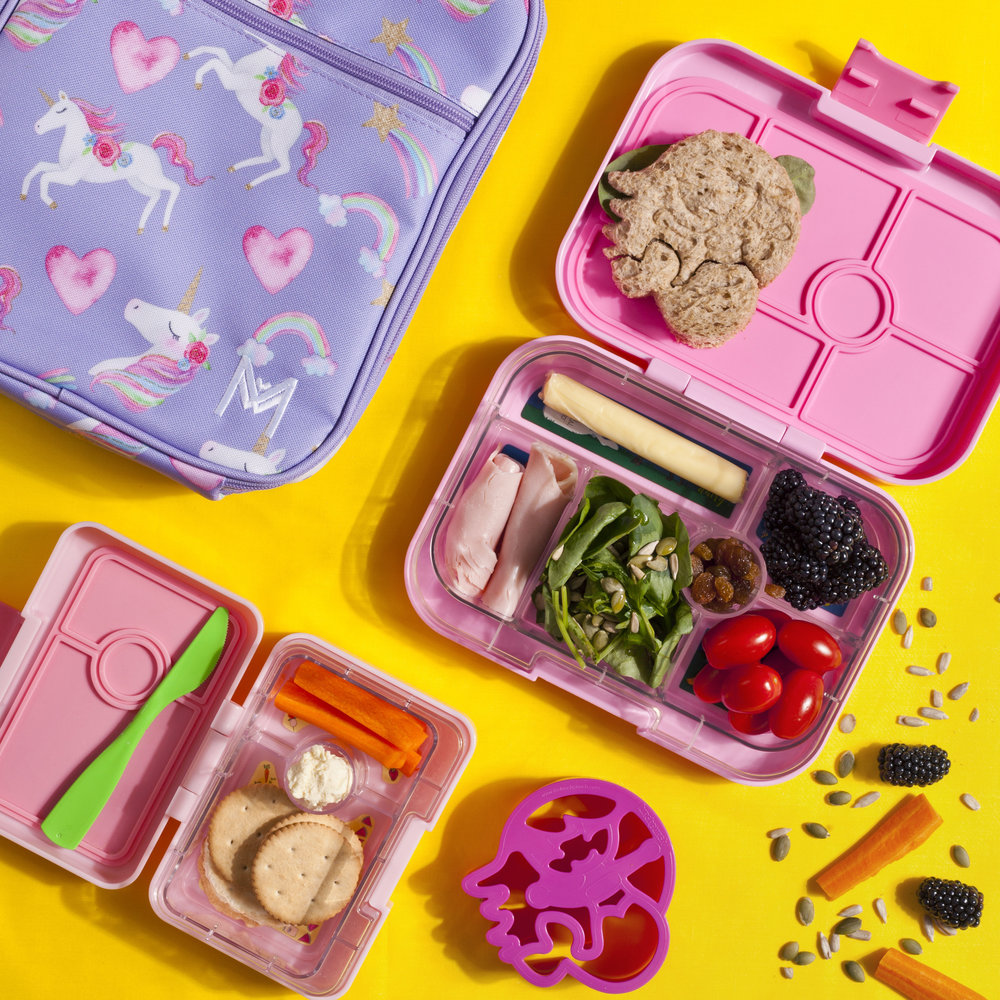 Montii lunchbag, with Yumbox Classic and Mini and Mermaid LunchPunch