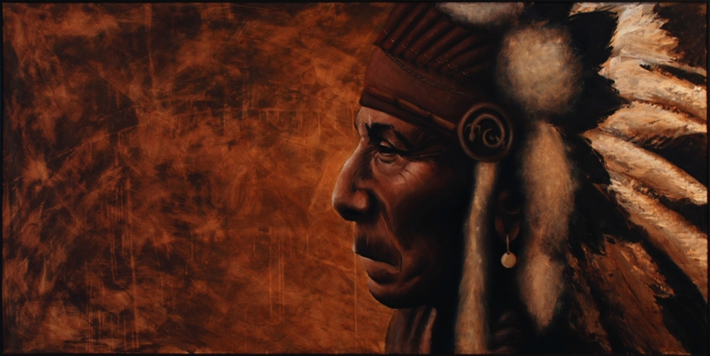 'Chief' Oil on Board (90 x 185cm)