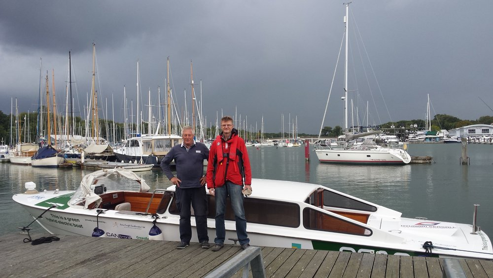 Brian and Dennis before popping over to the Isle of Wight on the hybrid Taxi Boat. Brian helps us out with driving the boat and is actually overseeing its transport to Venice later this year. Find out more about his services here  www.boat-towing.co.uk
