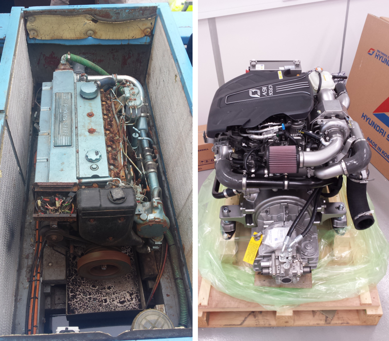 Out with the old and in with the new! Kingsley II's new Hyundai Seasall engine, not a bad swap we'd say!