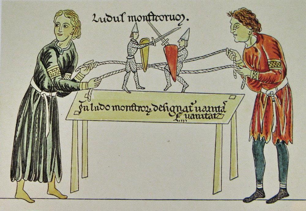 Vedeli ste? - Bábkové divadlá boli mimoriadne obľúbenou zábavou aj v stredoveku. Zabávali sa nimi tak šľachtické dietky na bohatých dvoroch, ako aj chudobní usmrkanci na jarmočných zábavách. Tie vo veľkom obchádzali potulné divadlá. Stredoveké iluminácie nám často ukazujú aj rôzne kulisy, ktoré boli pre divadielka špeciálne vytvorené.Figúrky ťahané za strunky alebo šnúrky sa stali tiež základom viacerých stredovekých hier. Napríklad aj rytierskych šermovačiek.