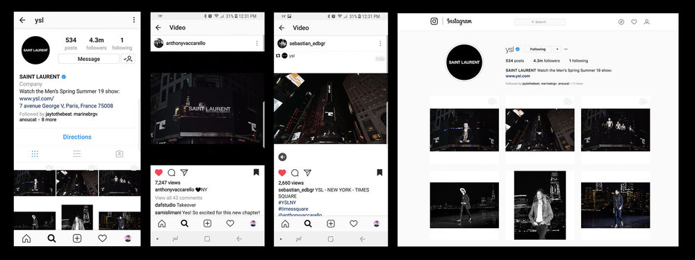 Compilation of Screenshots on @YSL Instagram -