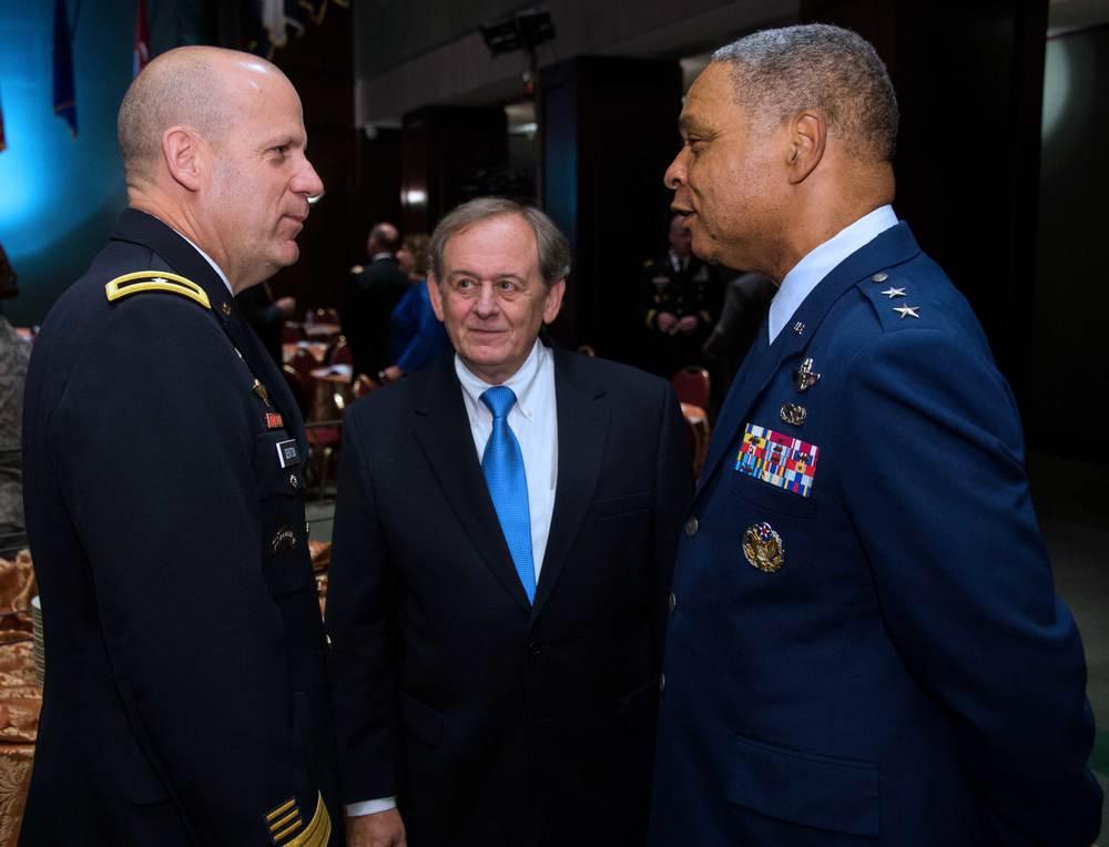 Brigadier General Ivan Denton, National Guard Bureau; Steve Nowlan, Center for America; Major General Garry Dean, National Guard Bureau