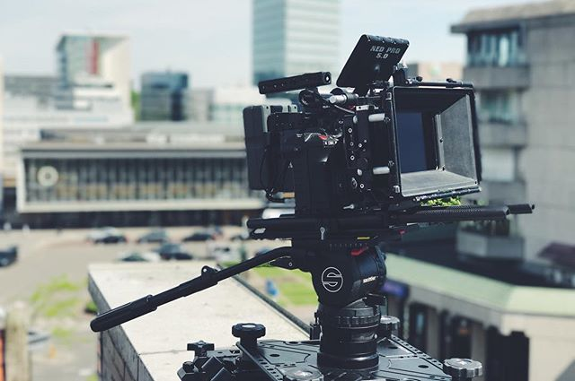 Not a bad day to be out and shooting. Working with @elianewilleumier and @mitchellwever on top of the @prorail building in #Eindhoven. #filmmaker #director #cinematography #r3d #shuttledolly #woodencamera #onlocation #ministryofframes