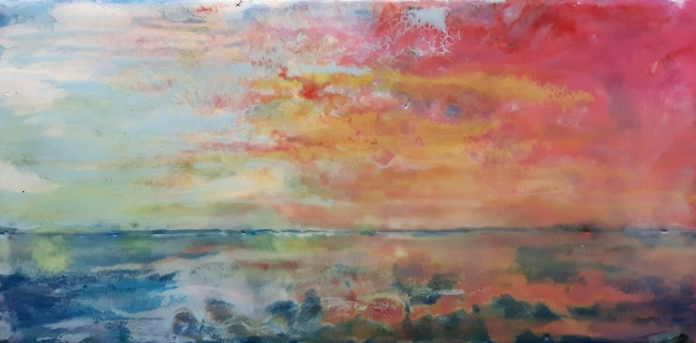 Sunset Over Superior - 5x9 - encaustic