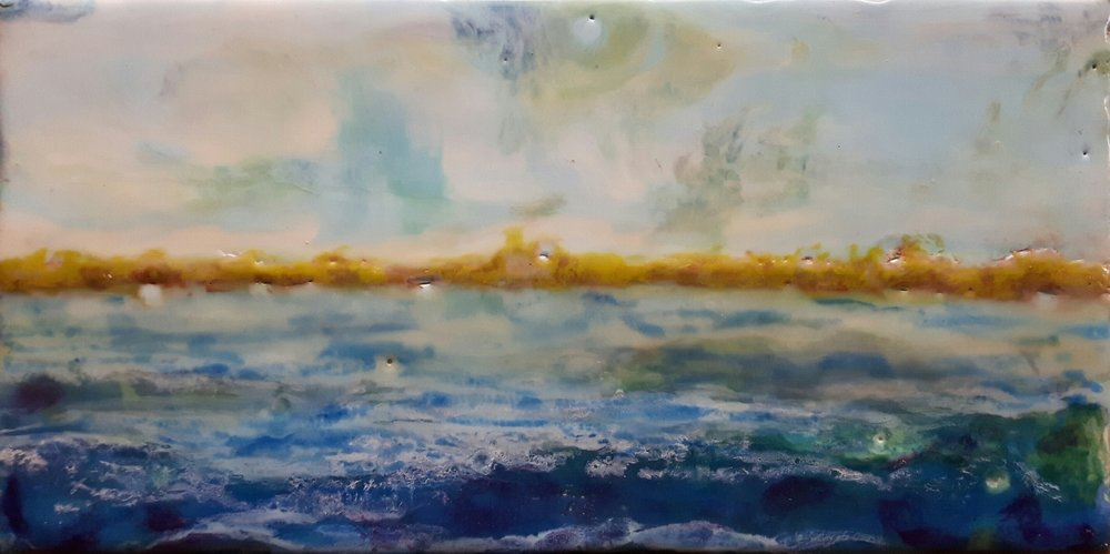 Across the Bay - 5x9 - encaustic