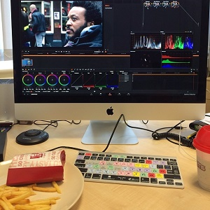 A computer being used to edit a video.