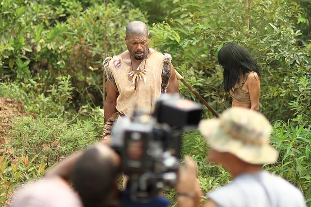 A jungle film set