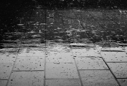 Rain landing on a pavement
