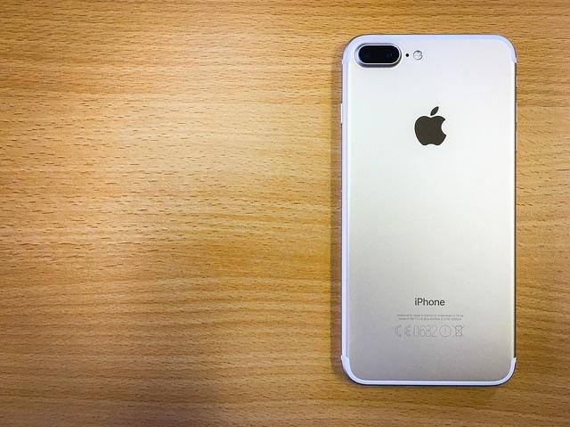 An iPhone 7 on a desk