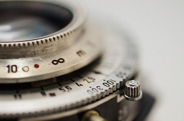 Close up of a vintage lens