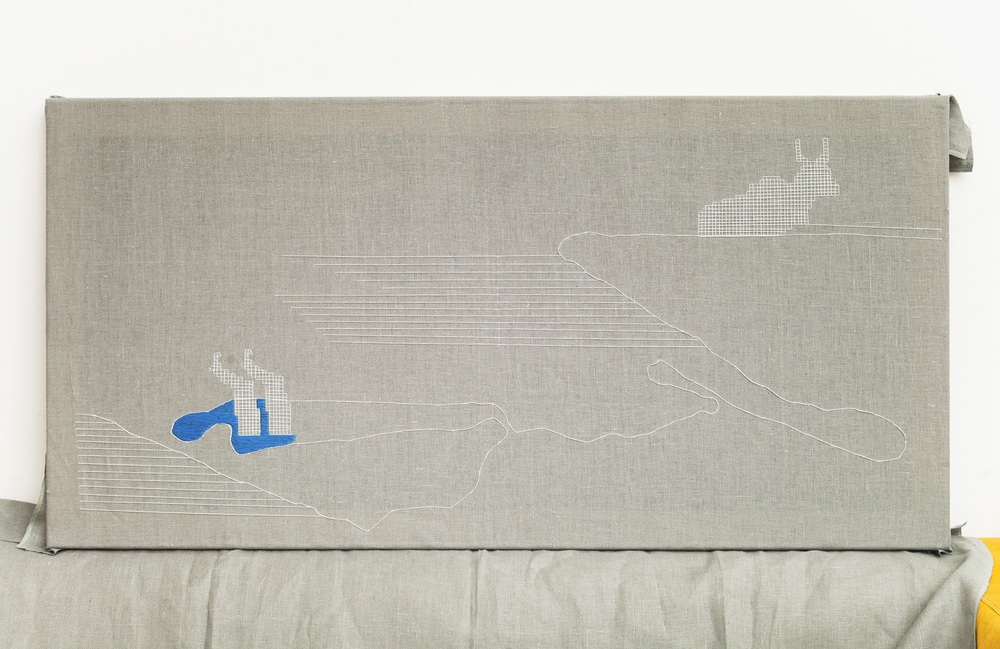 Linear    135x65 cm, linen fabric, embroidery  solo exhibition, Roza Azora Gallery Moscow, October 2014  © lisa olshanskaya