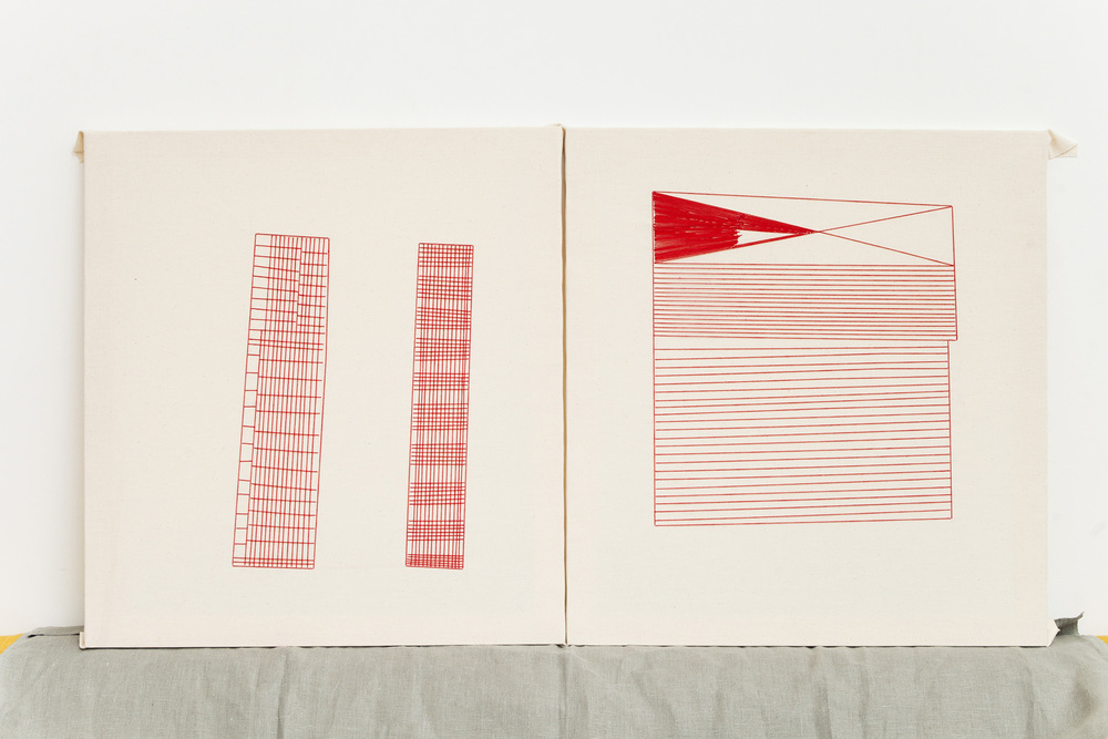 Linear    60x65 cm each, linen fabric, embroidery  solo exhibition, Roza Azora Gallery Moscow, October 2014  © lisa olshanskaya