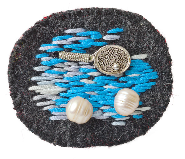 "mini object / brooch   embroidery / mixed media /   pearls    2013 solo exhibition ""Random Images"" Roza Azora Gallery, Moscow  private collection  © lisa olshanskaya"