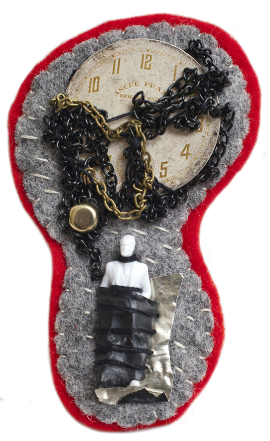 "mini object / brooch   embroidery / mixed media  2013 solo exhibition ""Random Images"" Roza Azora Gallery, Moscow  © lisa olshanskaya"