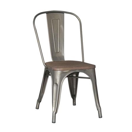 silla tolix con base de madera