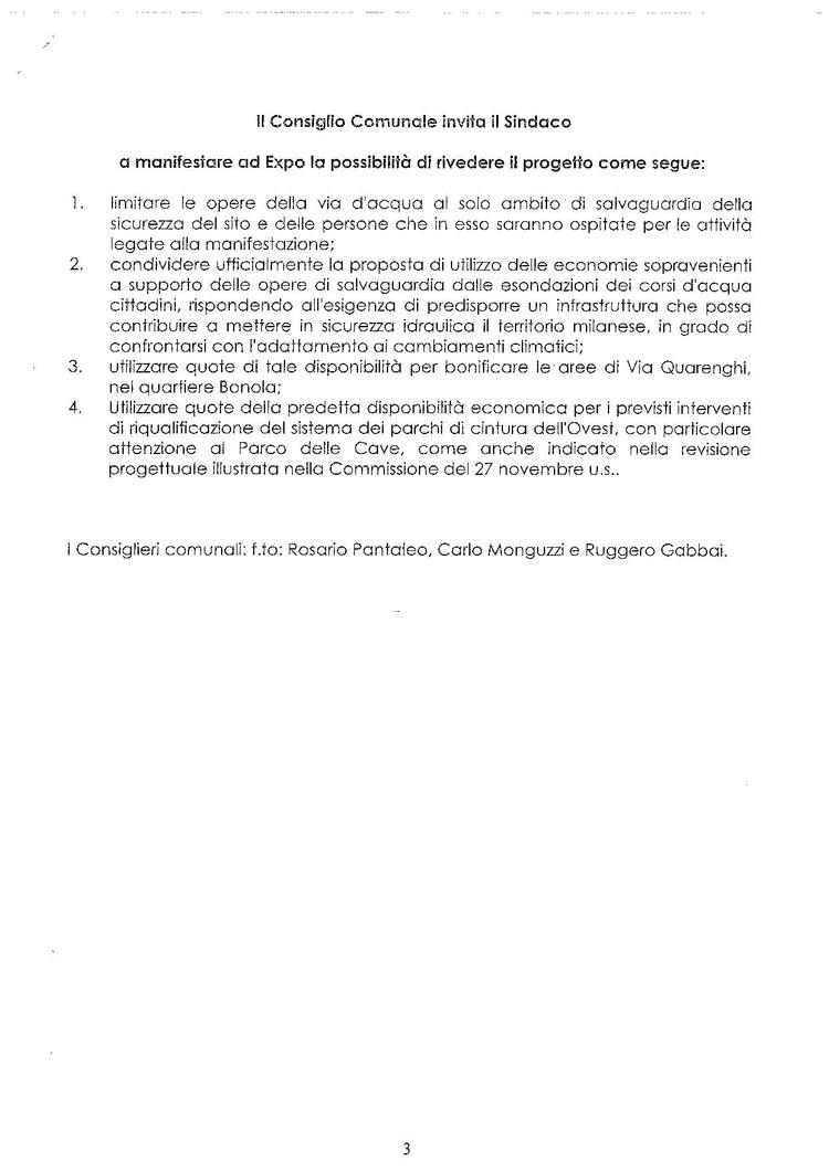 Mozione approvata dal Consiglio comunale di Milano il 26 gennaio 2015