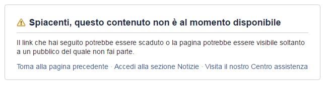 il messaggio che da ieri appare su fb quando si prova a raggiungere la pagina HDP Italia