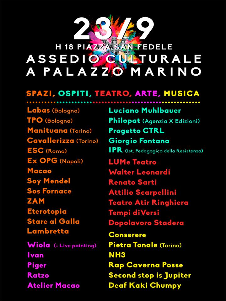Scaletta provvisoria dell'Assedio culturale a Palazzo Marino