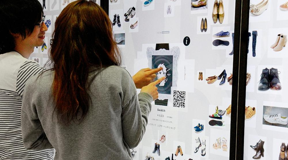 vitrine tactile et interactive de l'enseigne Parco au Japon