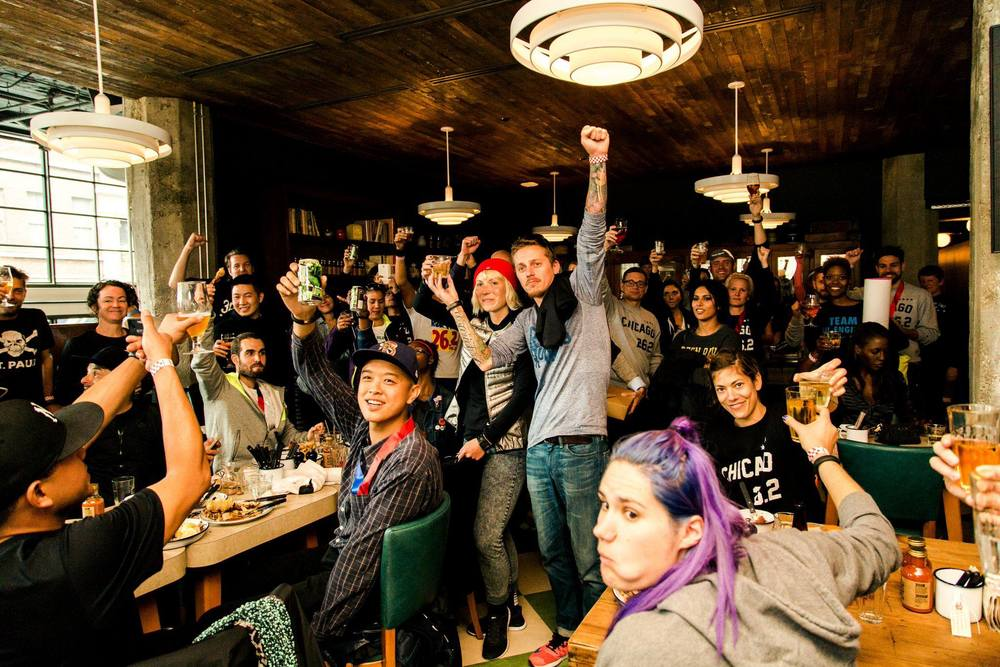 Last year's post marathon meetup at the Chicken Shop. Shoutout to all of our homies from far and wide. Photo Credit: David Oh