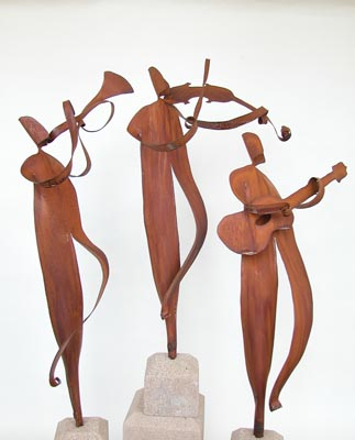 "Musicians $156 (priced individually) rust patina 24"" with 4 x 4 x 4 threaded cast stone base"