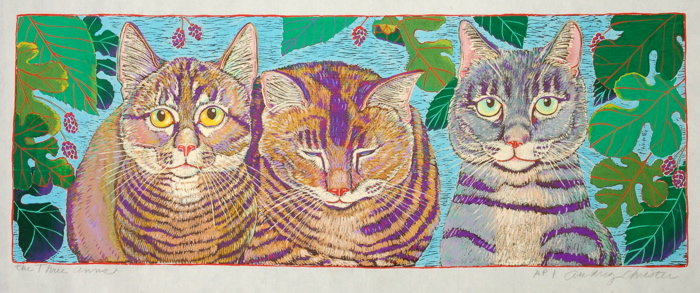 Three Anns $450  hand colored woodcut 6 x 20
